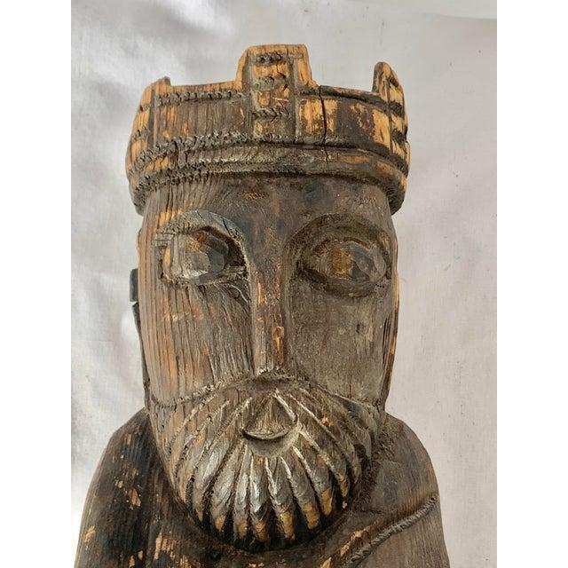 Wood Vintage Hand Carved Wooden King Sculpture For Sale - Image 7 of 11