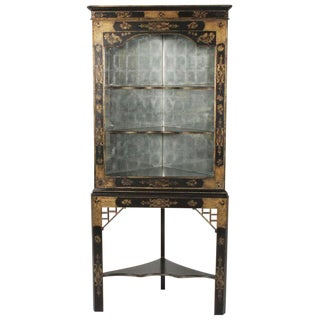 1970s Chinoiserie John Richard Corner Cabinet With Distressed Mirrored Interior For Sale