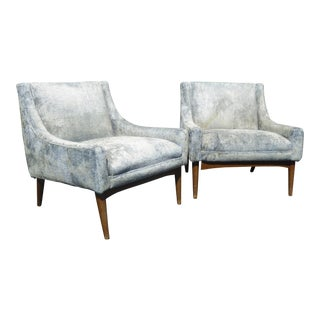 Vintage Milo Baughman Style Mid Century Modern Baby Blue Accent Chairs - a Pair ~ Low Profile For Sale