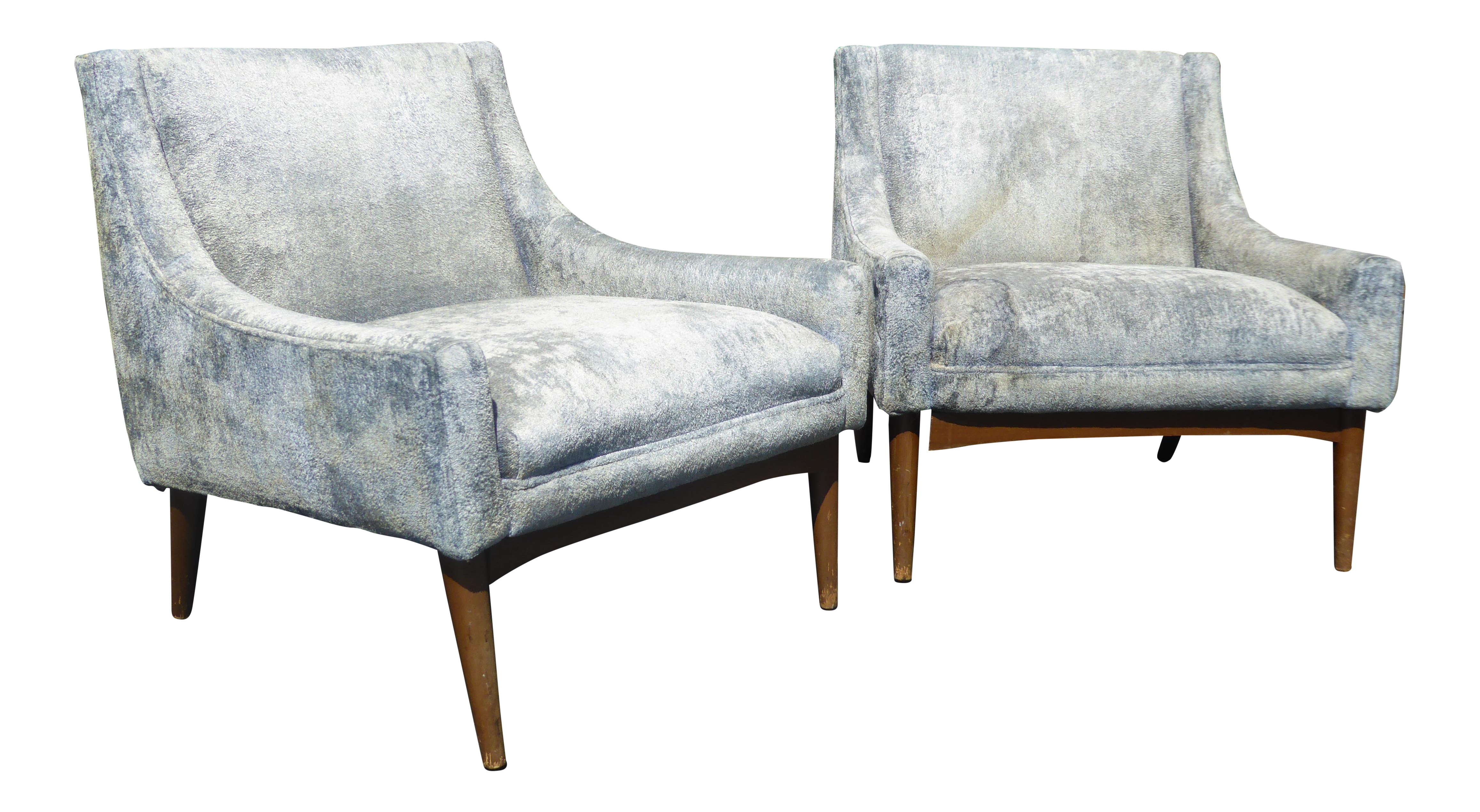 Vintage Milo Baughman Style Mid Century Modern Baby Blue Accent Chairs   A  Pair ~ Low Profile