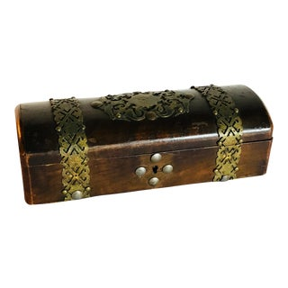 19th Century Antique Brass and Wood Box For Sale