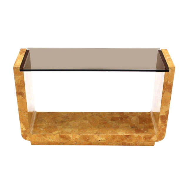 Burlwood Vintage Mid Century Burl Wood Smoked Smoked Glass Top U-Shape Console Table For Sale - Image 7 of 7