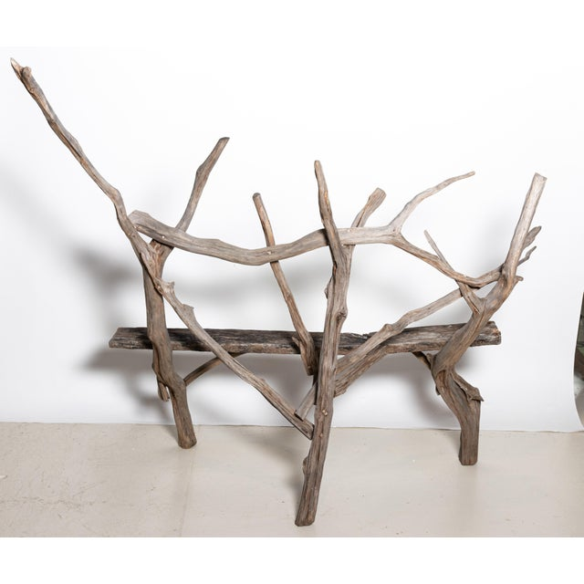 Farmhouse English Country Reclaimed Driftwood Garden Bench For Sale - Image 3 of 11