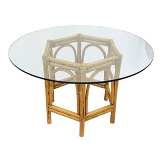 Vintage Bent Rattan & Glass Table For Sale
