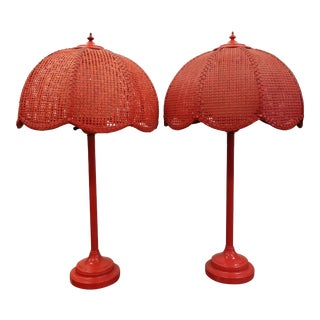 1960's Red Wicker Table Lamps - A Pair For Sale