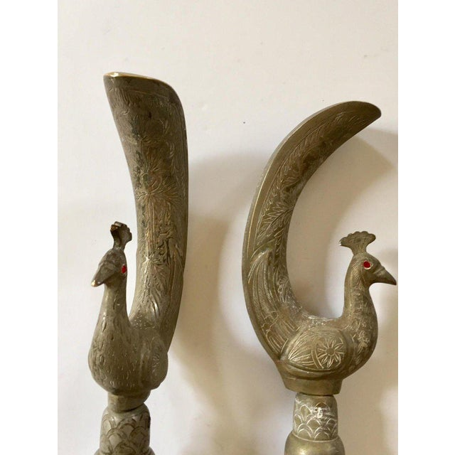 Large Peacock Shaped Brass Silvered Door Handles - a Pair For Sale - Image 11 of 13
