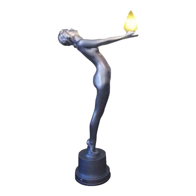 "6 Foot Art Deco ""Clarte"" Biba Nude Floor Lamp in the Style of Max Le Verrier For Sale"