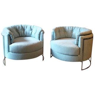 1970s Vintage Milo Baughman Chrome Barrel Club Lounge Chairs- A Pair For Sale