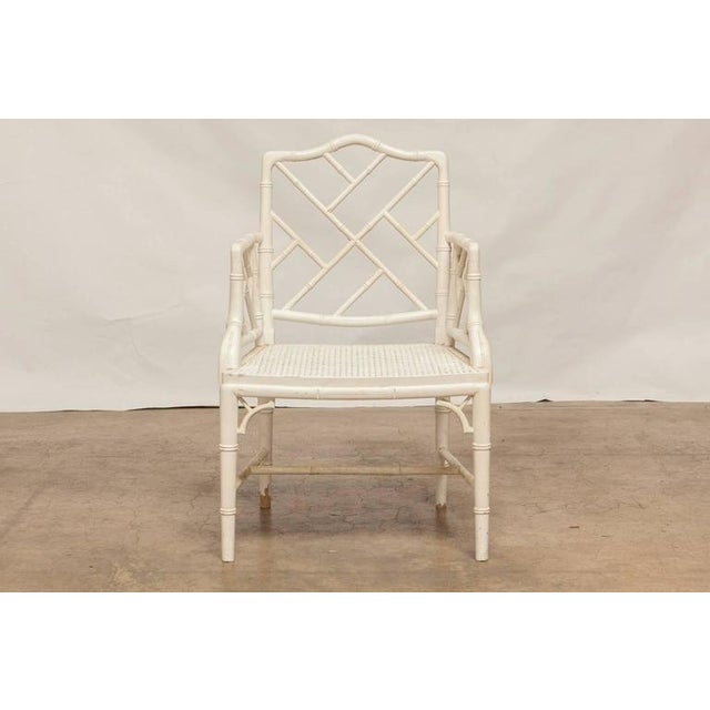 Chinese Chippendale Faux Bamboo Armchairs - Pair - Image 2 of 8