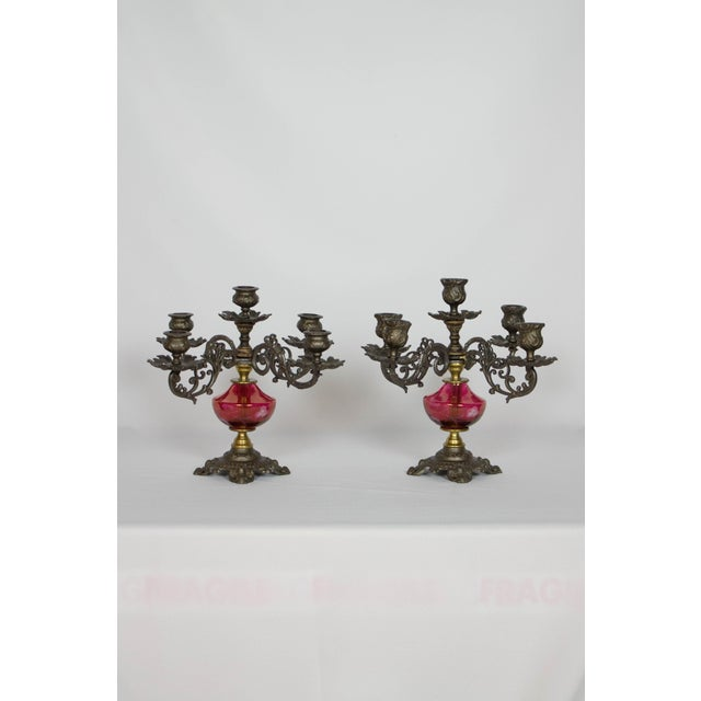Cranberry Glass Candelabra - A Pair For Sale - Image 9 of 9