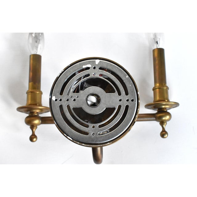 Metal Vintage Brass Double Wall Sconce Lamps With Shades - a Pair For Sale - Image 7 of 10