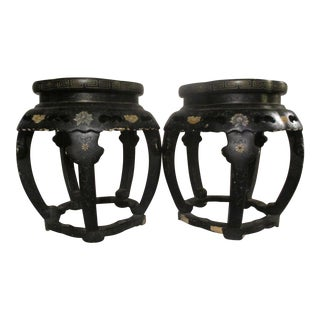 1900S Chinese Black Lacquer Side Tables - a Pair For Sale