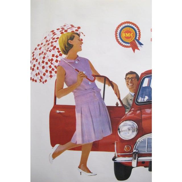 "1959 Original Vintage Car Advertisement Poster - British Car ""Morris 850 Mini"" For Sale - Image 4 of 6"