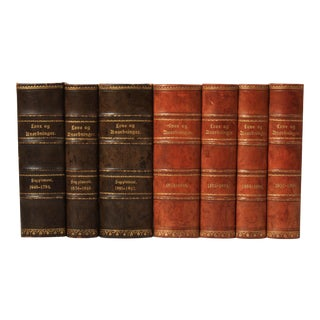 19th Century Leather-Bound Books - Set of 7