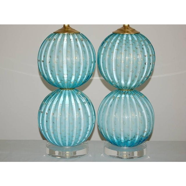 Contemporary Murano Glass Stacked Ball Table Lamps Blue For Sale - Image 3 of 10