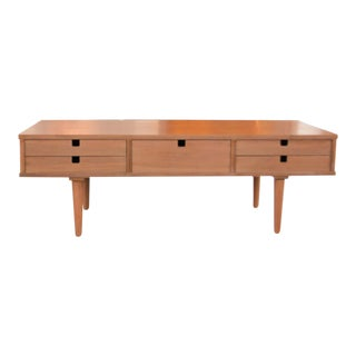 Danish Modern Walnut Coffee Table With Drawers For Sale