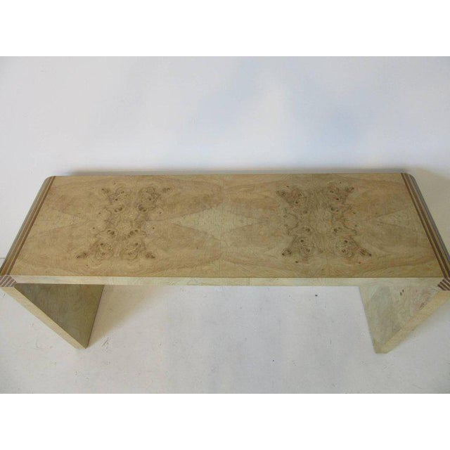 Henredon Scene Two Burl Wood Console Table Or Small Desk For Image 4