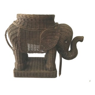 Vintage Mario Torres Lopez Style Chinoiserie Wicker Elephant Plant Stand For Sale