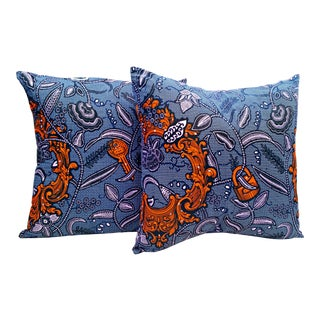Lock & Key Purple African Print Fabric Pillow Covers - A Pair