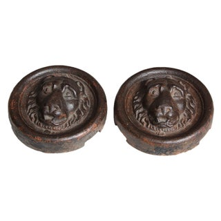Cast Iron Decorative Lion Heads - Pair