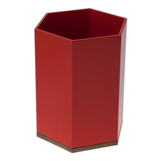 Veere Grenney Collection Hexagonal Bin in Chinese Red For Sale