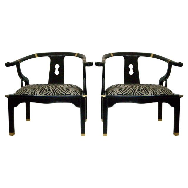 Black Lacquer Ming Style Arm Chairs - a Pair - Image 1 of 5