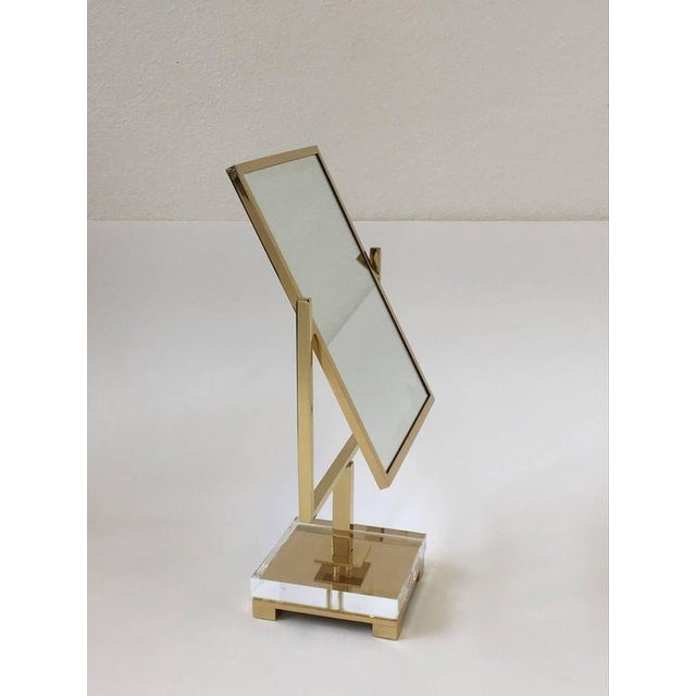 Mid-Century Modern Polished Brass and Acrylic Vanity Mirror by Charles Hollis Jones For Sale - Image 3 of 8