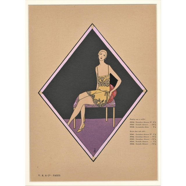1920s Matted French Art Deco Vintage Lingerie Fashion Pochoir For Sale - Image 5 of 5
