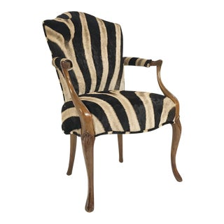 Vintage Wooden Armchair Restored in Zebra Hide