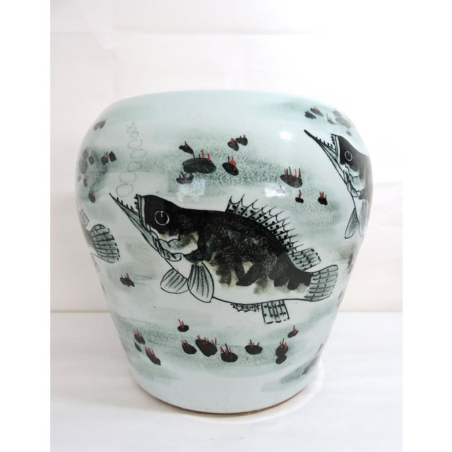 Late 20th Century Vintage Fish & Lotus Flower Chinese Ceramic Drum Seat or Garden Stool, Side Table, Pedestal For Sale - Image 5 of 8