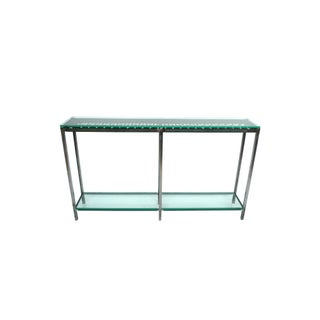 Custom-Made Iron & Glass Console Table For Sale