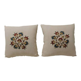 Pair of 19th Century Embroidery Hand Applique on Pink Linen Decorative Pillows