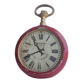 Antique French Double Sided Pocket Watch Trade Sign For Sale