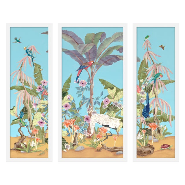 "Contemporary Medium ""Palm Beach Paradise, 3 Panels"" Print by Allison Cosmos, 35"" X 30"" For Sale - Image 3 of 3"