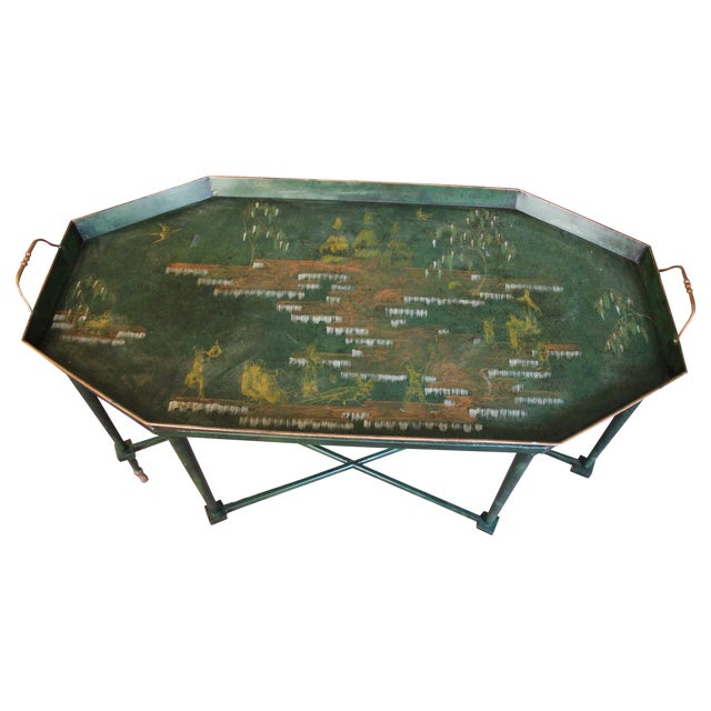 Italian Tole & Green Chinoiserie Coffee Table - Image 1 of 6