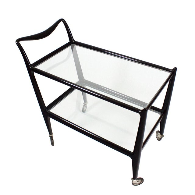 Black 1950´s Two Levels Bar Cart by Ico Parisi, Stained Beech, Glass - Italy For Sale - Image 8 of 12