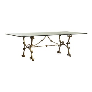 Hand Forged Iron Italian Baroque Style Glass Top Dining Table For Sale