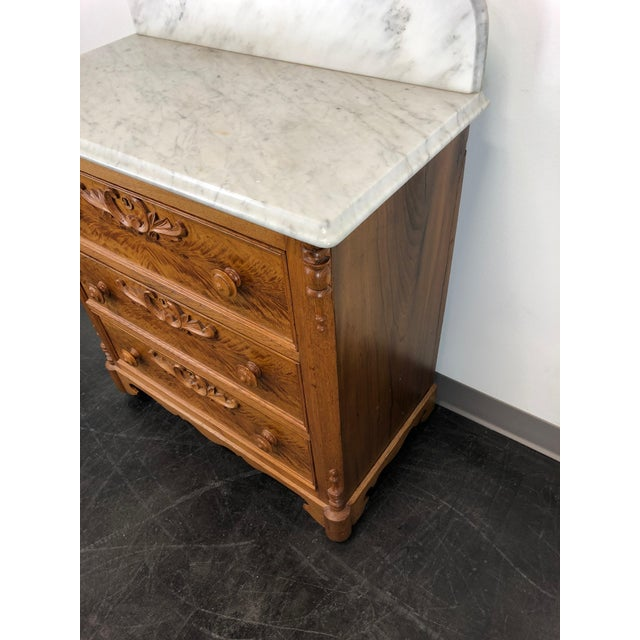 Mid 19th Century Antique Victorian Walnut & Oak Marble Top Commode / Washstand For Sale - Image 5 of 13