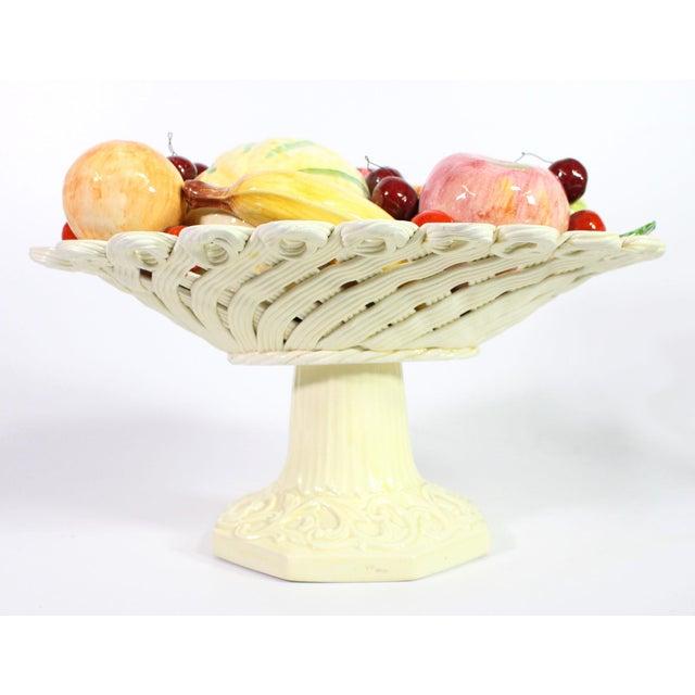 1940s 1940s Handmade Porcelain Italian Topiary Fruit on Lattice Pedestal For Sale - Image 5 of 8