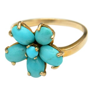 Vintage Persian Turquoise Flower Ring For Sale