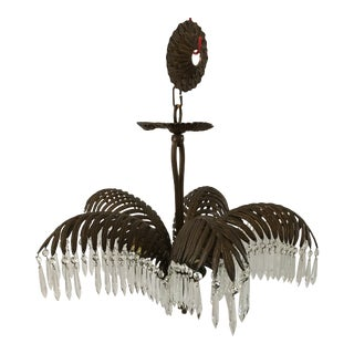 1940s French Art Deco Bronze Palm Frond Chandelier For Sale