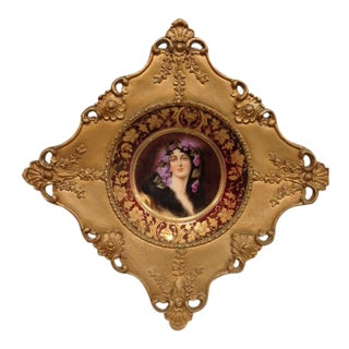 Royal Vienna Portrait Plate in Gilded Ornate Frame For Sale