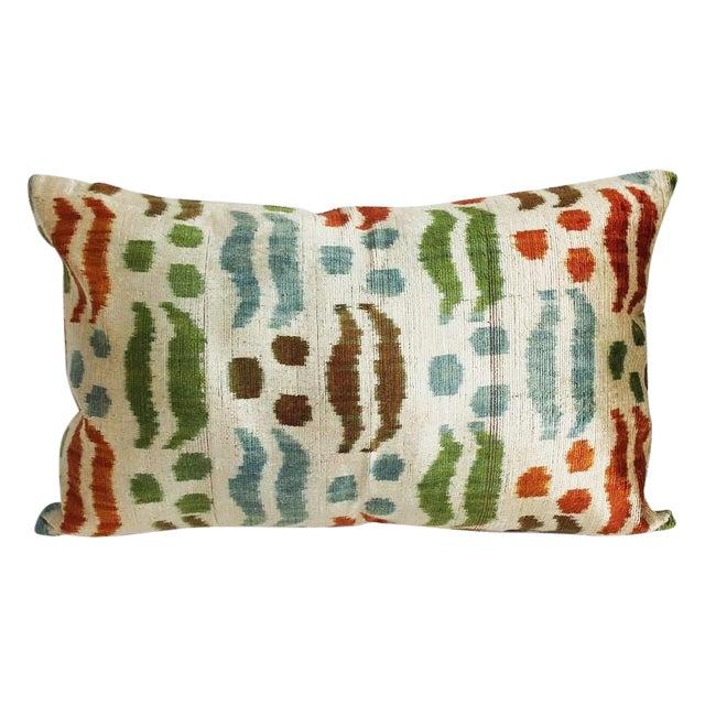 Contemporary Silk Velvet Ikat Pillow For Sale