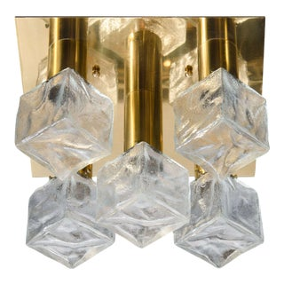 Mid-Century Modern Frosted Cube and Polished Brass Flush Mount by J.T. Kalmar For Sale