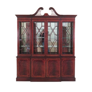 Hickory White Co. Inlaid Mahogany 4 Door Breakfront For Sale