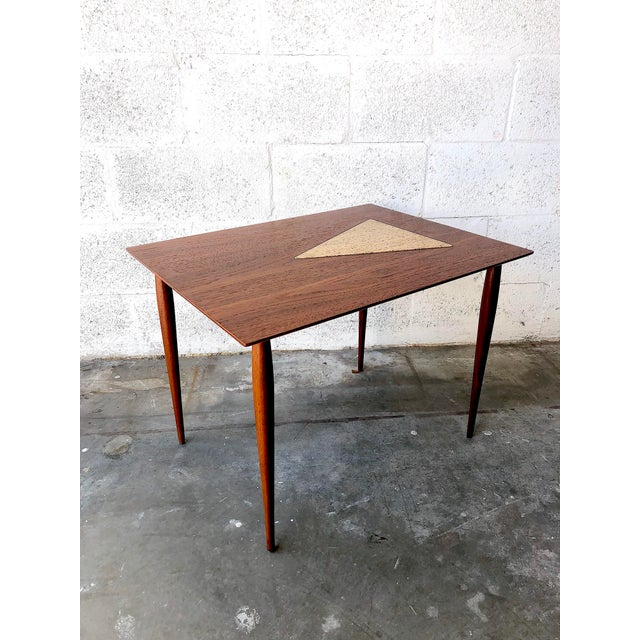 Vintage Mid Century Modern End Table With Travertine Inlay. C 1960s. Features a sleek Mid Century Modern design and a...