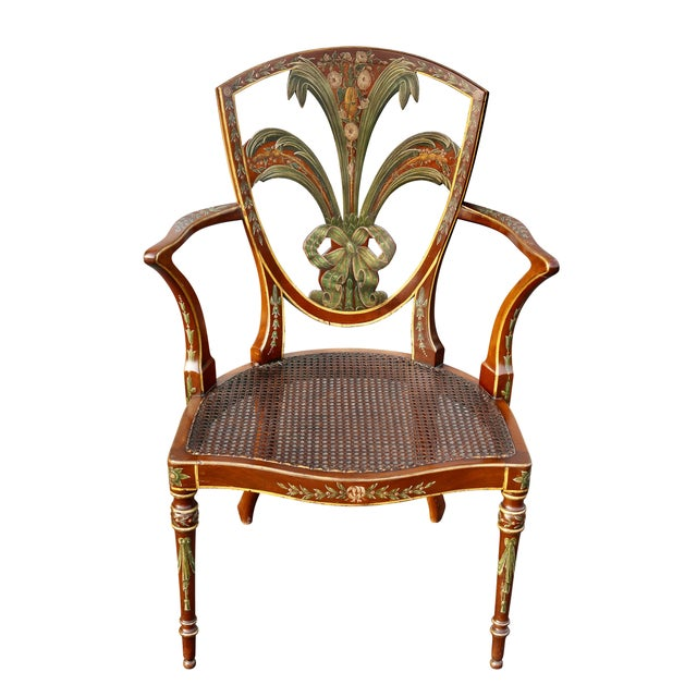 Traditional Edwardian Satinwood and Painted Armchair For Sale - Image 3 of 11