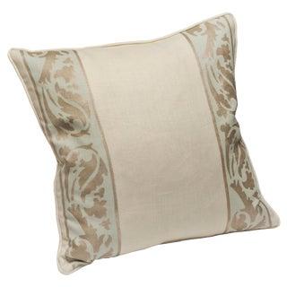 """Venetian Vine"" Glacier Hand Printed 20"" Decorative Pillow"