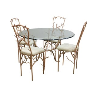 Vintage Ponderosa Faux Painted Branch Design Round Glass Top Table + 4 Chairs Set For Sale