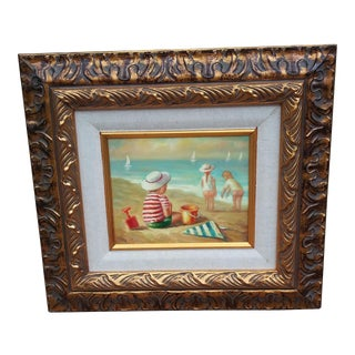 Children Playing on the Beach Original Oil Painting by Brandon For Sale